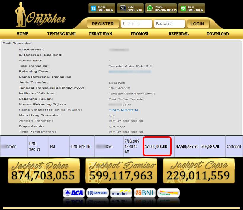Selamat Kepada Member Setia Ompoker WD Rp 47.000.000