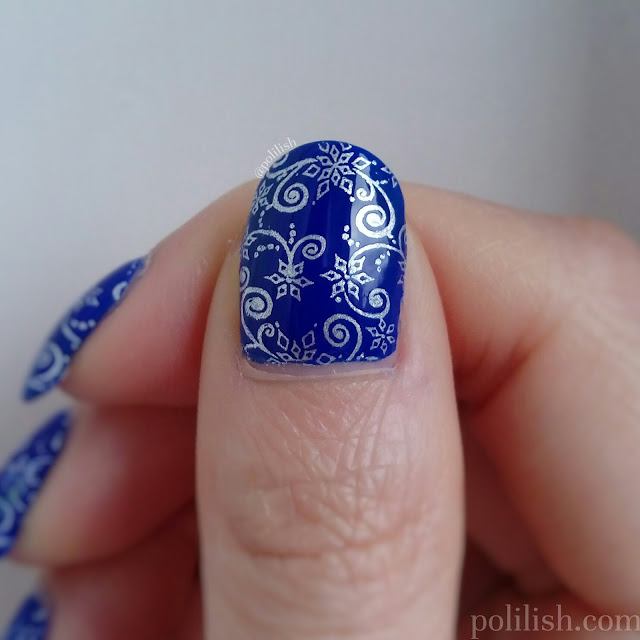 "Stamped nail design using Colour Alike ""Silver King"" and MoYou London ""Enchanted 16"", by polilish"