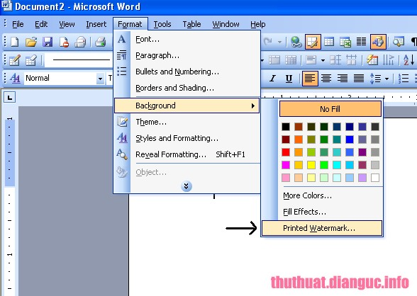 Cách xóa chữ chìm trong word 2003