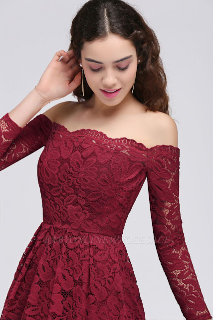 A-Line Off-the-Shoulder Short Lace Burgundy Homecoming Dresses