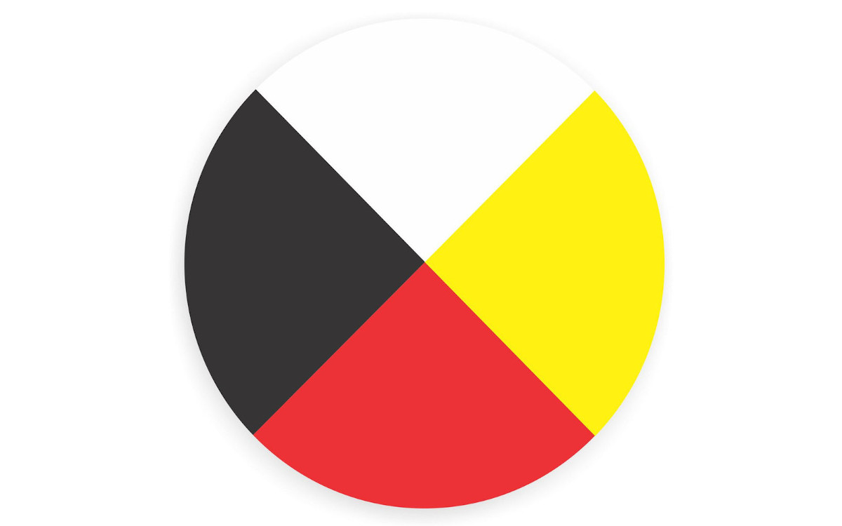 The medicine wheel with the colors of the four directions.