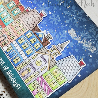 The Happiest of Holidays Card by November Guest Designer Amanda Wilcox   Main Street Christmas Stamp Set by Newton's Nook Designs #newtonsnook #handmade