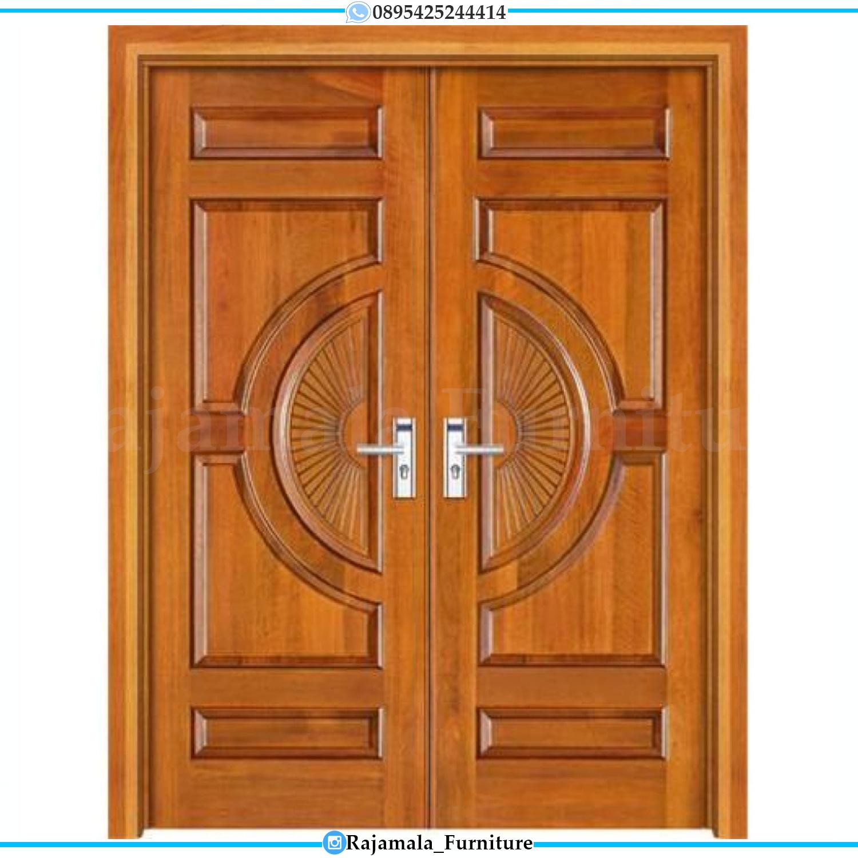 Pintu Rumah Kayu Jati Perhutani Desain Natural Luxury Classic RM-0202