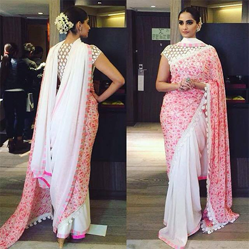 Pink & White Laced Half N Half Saree