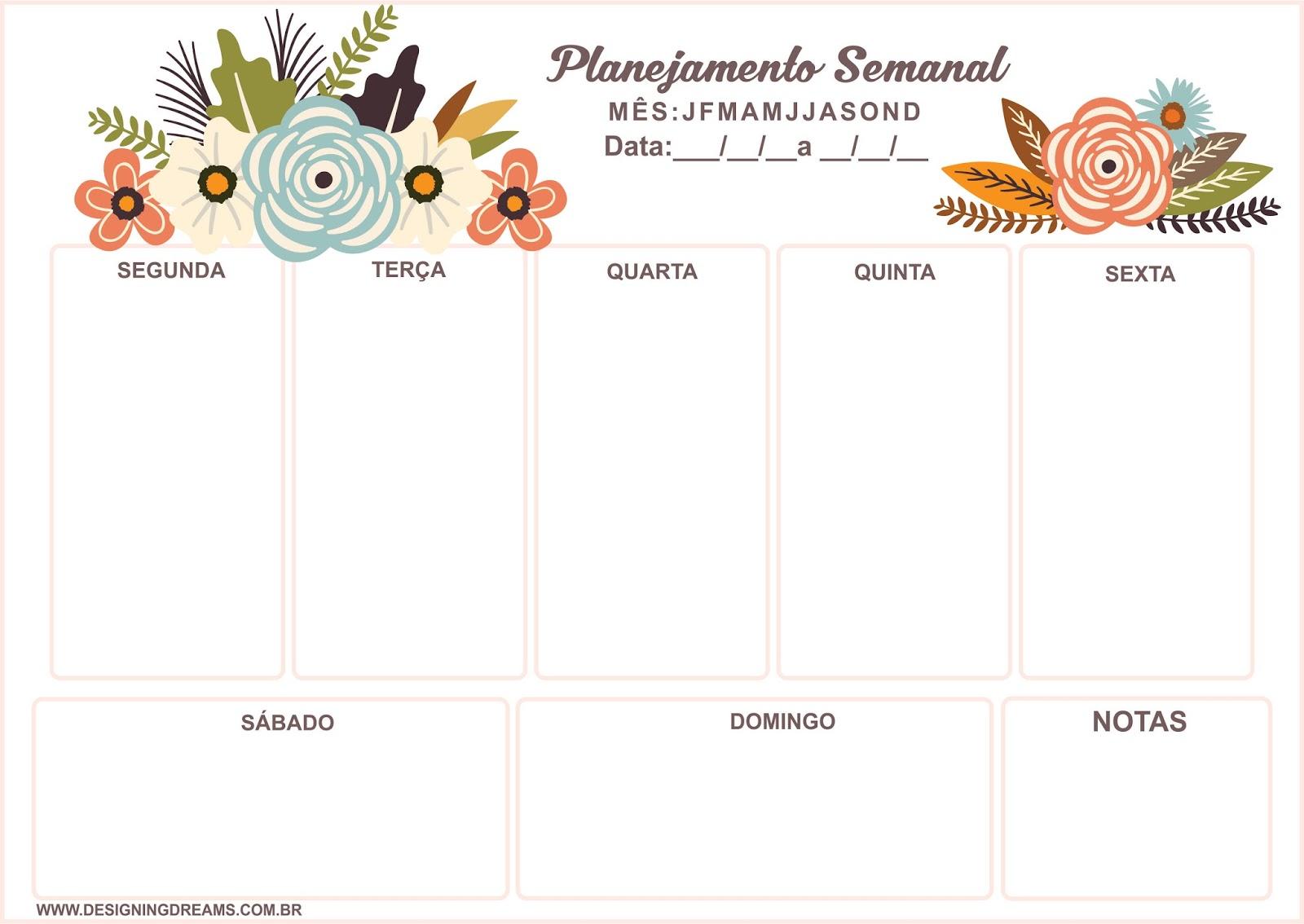 Planner Semanal Grátis Para Baixar E Imprimir