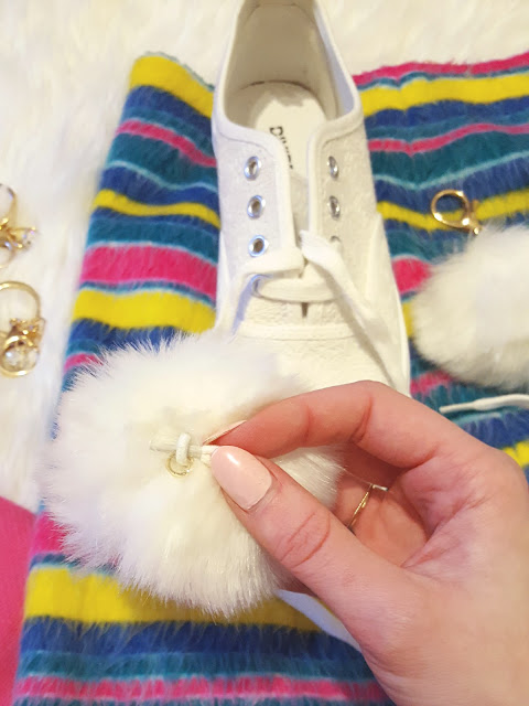 lace on white pom poms