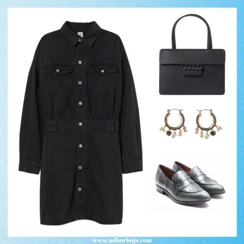 Outfit vestido camisero con mocasín