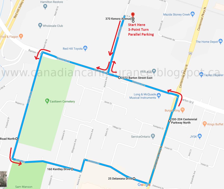 Hamilton G2 Road Test Route Maps