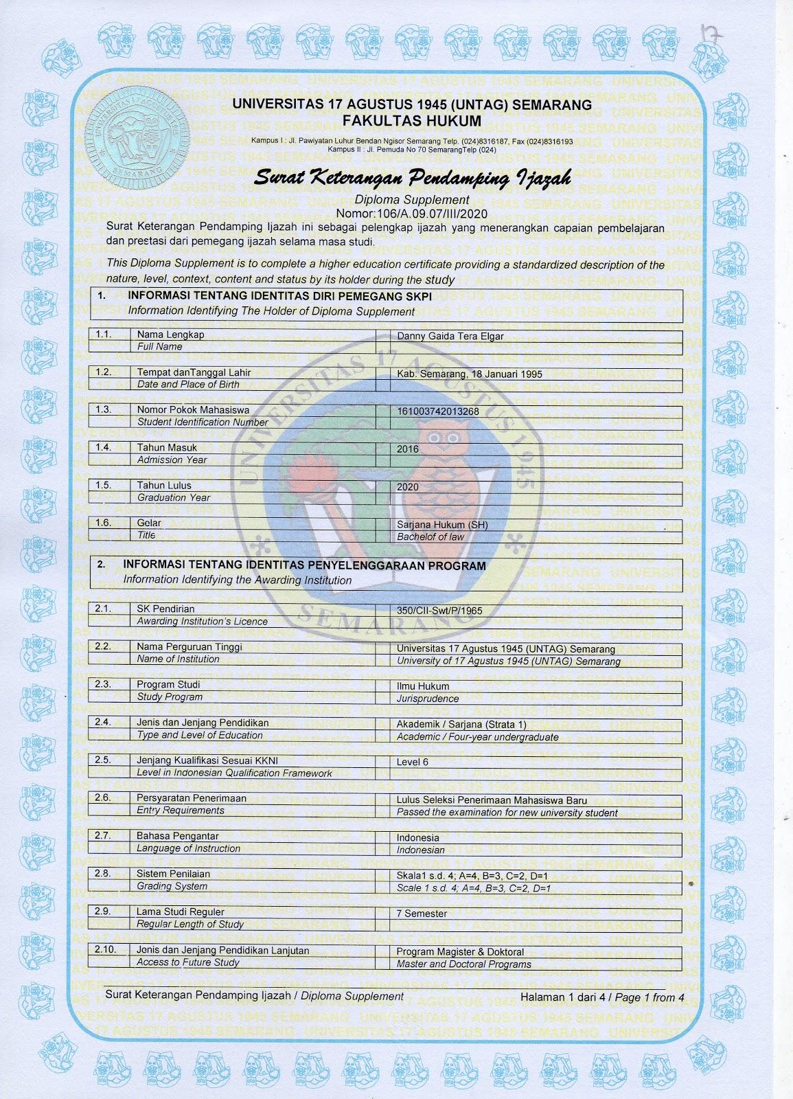 Surat Keterangan Pendamping Ijazah (SKPI) Fakultas Hukum Universitas 17 Agustus 1945 (UNTAG) Semarang