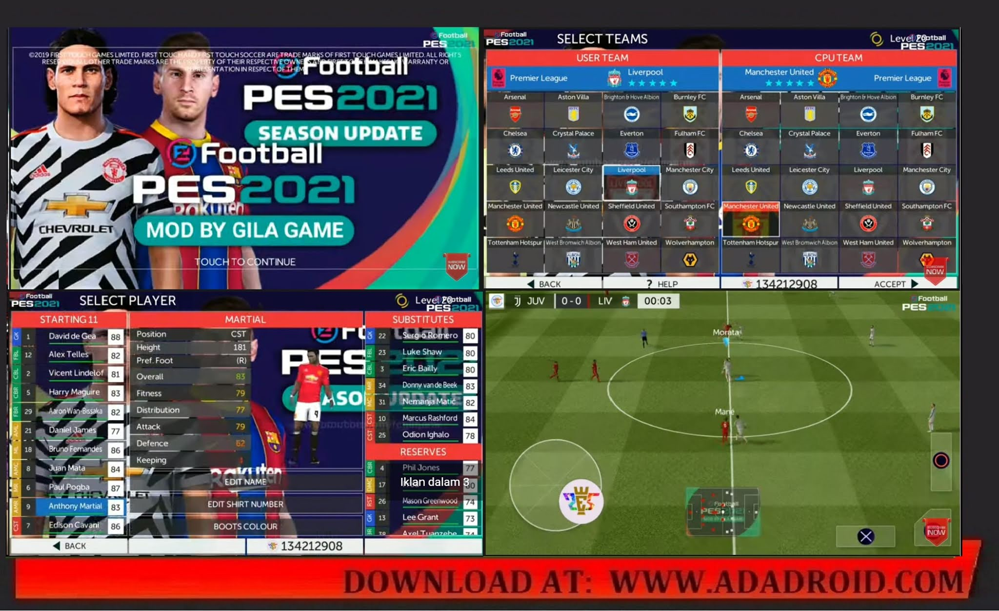 Download FTS Mod Special eFootball PES 2021 Edition Full European Competition