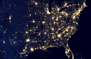 Composite night shot of electric lighting in the United States in the eastern states.