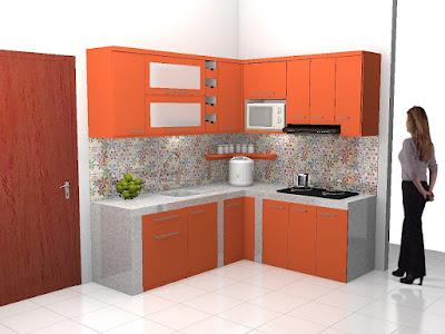 Desain Kitchen Set Bentuk L Warna Orange + Furniture Semarang