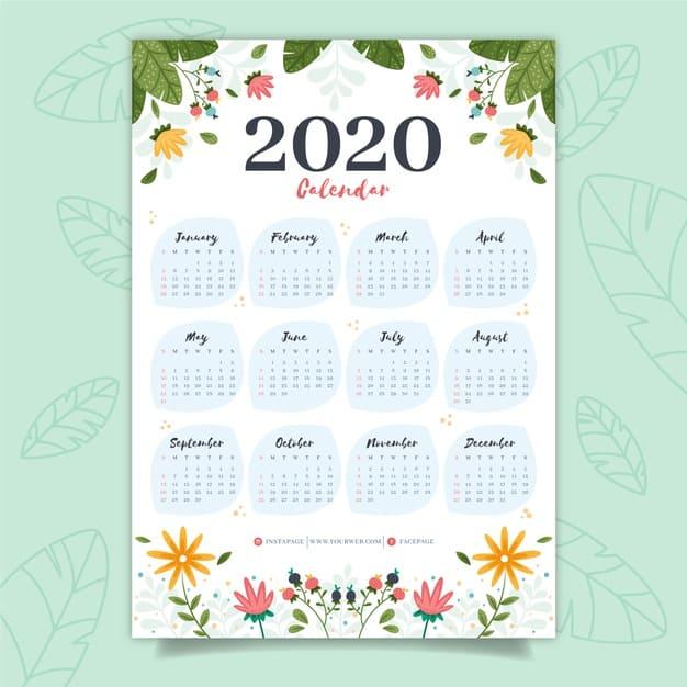 Calendario editable de flores gratis