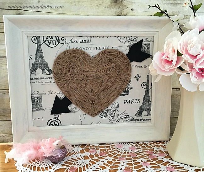 Vintage Paint and more - a vintage Valentine vignette done with a diy vintage Valentine wall art, ironstone pitcher with peonies and a feather and glitter bird