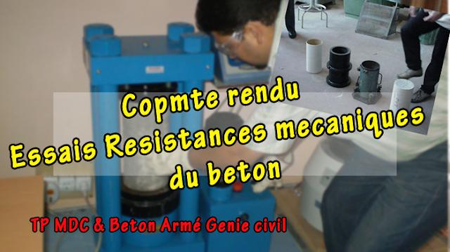 Resistances mecaniques du beton arme compte rendu TP BA génie civil PDF