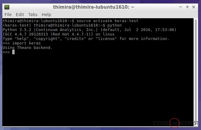 Codes of Interest: Setting up Keras and Anaconda Python on Ubuntu 16 10
