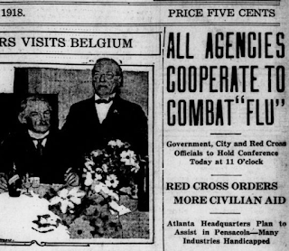 Screengrab of part of a 1918 Pensacola Journal newspaper front page