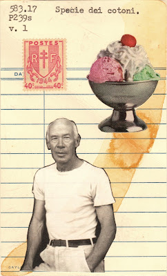 French occupation broken chain postage stamp ice cream sundae Henry Miller library due date card Dada Fluxus mail art collage