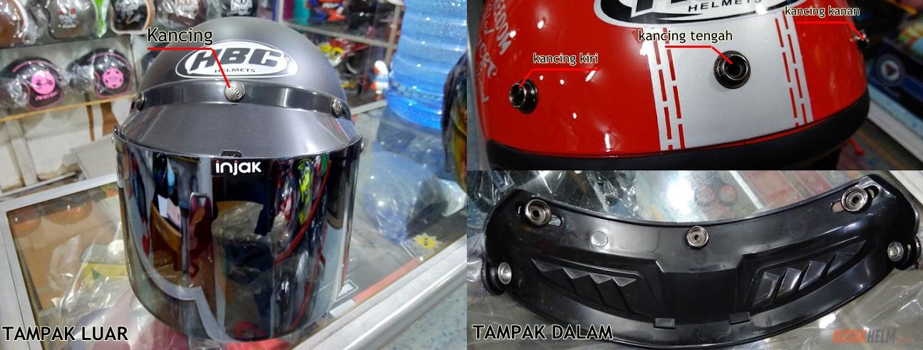 kaca helm bogo lengkap, kaca dan peak