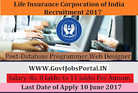 Life Insurance Corporation of India Recruitment 2017- Web Developer, Database Programmer, Web Designer