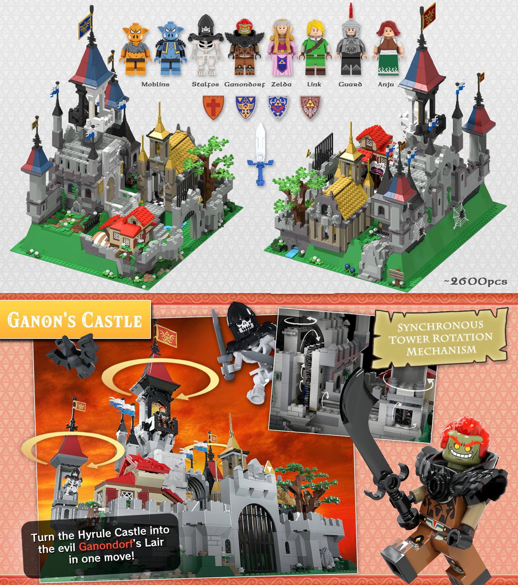レゴアイデアで『ハイラル城:ゼルダの伝説』が製品化レビュー進出!2021年第1回1万サポート獲得デザイン紹介