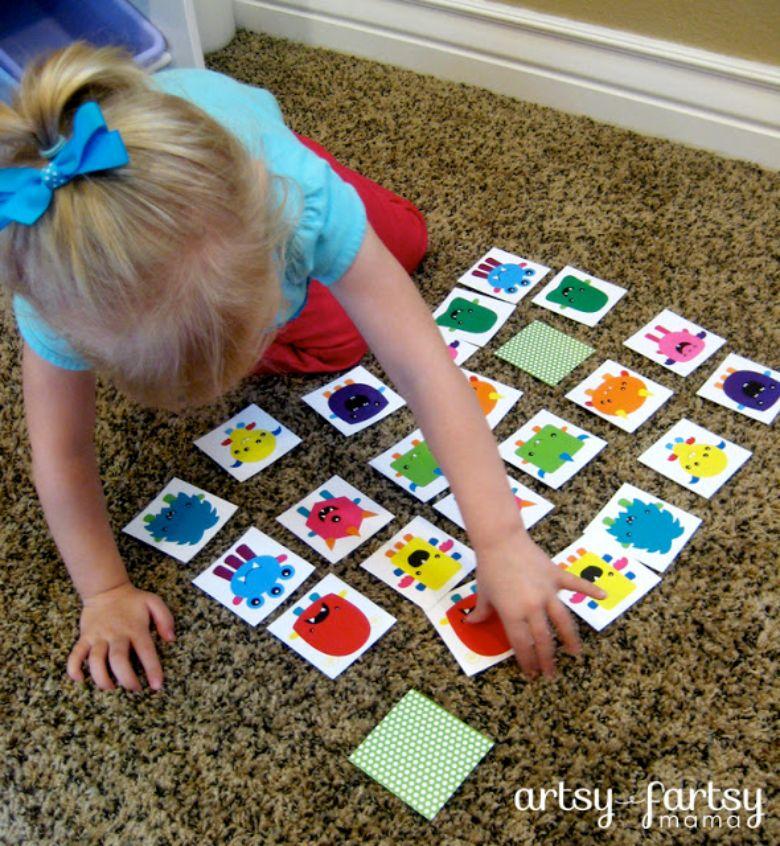 printable games for kids - monster match game