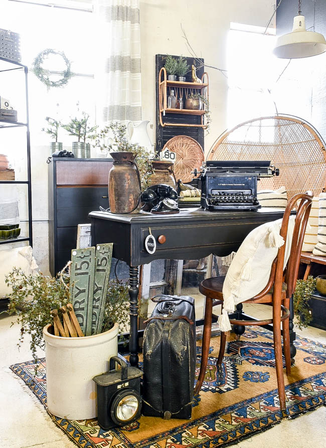 back painted vintage console table desk