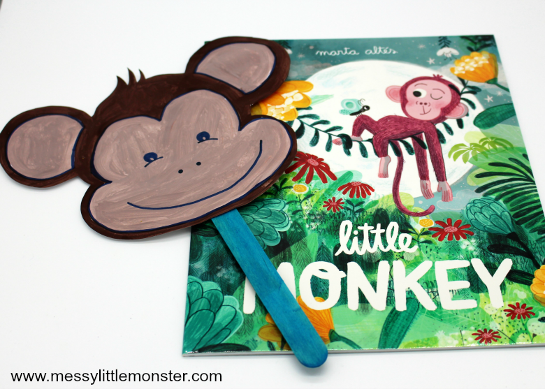 Make a monkey mask craft for kids using our free printable monkey template. This is suchs a fun way to get involved in the Booktrust Time to Read Campaign.