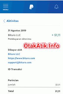 bukti pembayaran aplikasi bituro terbaru 31 agustus 2019