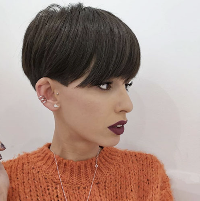 side shaved pixie haircut with bangs