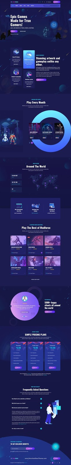 Gaming Subscription Website PSD Template