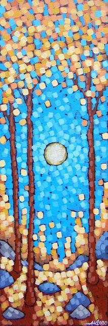 Warm Autumn Moonlight painting by aaron kloss, painting of maples in autumn fall season