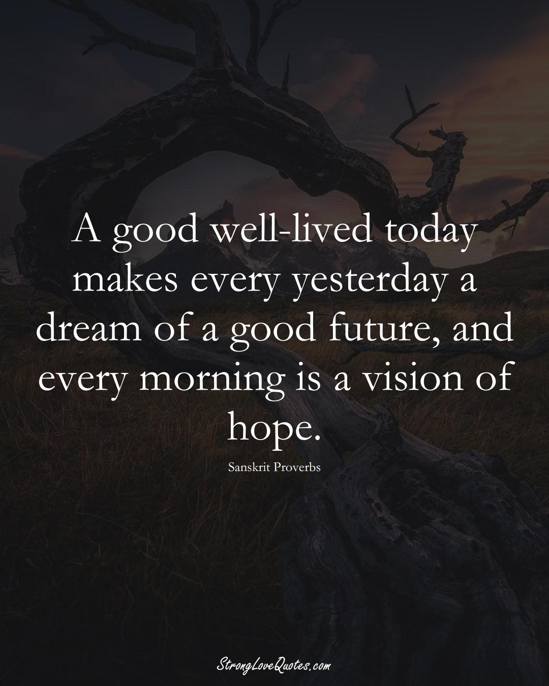 A good well-lived today makes every yesterday a dream of a good future, and every morning is a vision of hope. (Sanskrit Sayings);  #aVarietyofCulturesSayings