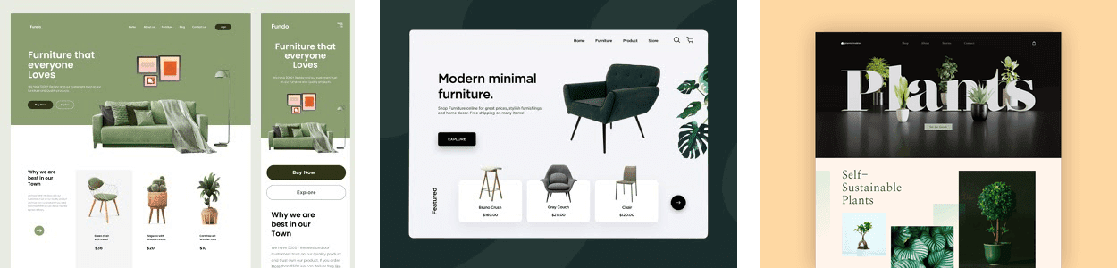 three examples of the plants web design trend