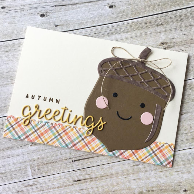 Sunny Studio Stamps: Nutty For You Greetings Word Die Customer Card by Kumiko Hata