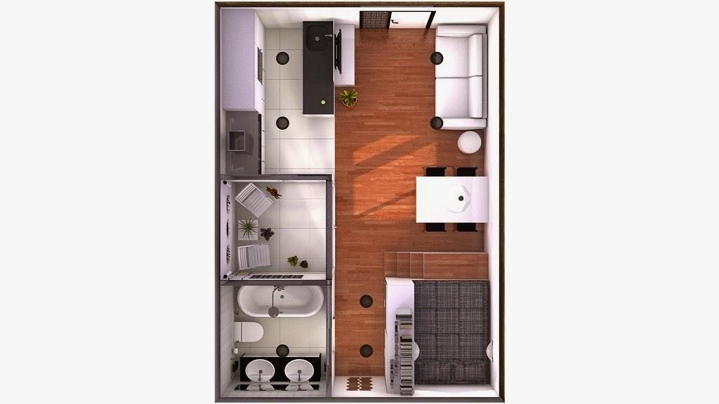 Minipiso 31m2 con corralito de 4m2 Mini casas planos