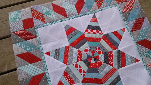 red aqua round robin quilt