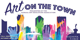 Art on the Town conference logo depicts the skyline of Wichita, KS overlaid with colorful upreaching hands