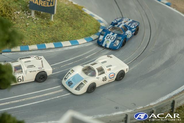 Drei Modelle Porsche 910 und Porsche 907 24 Studen Le Mans 1970 im Maßstab h0