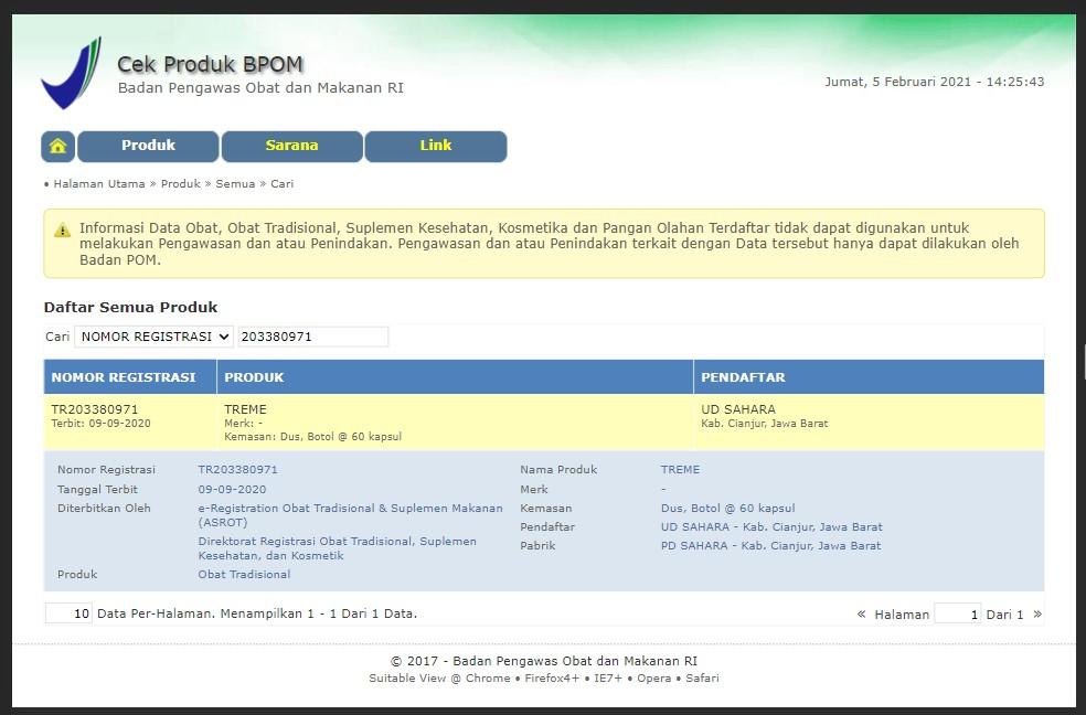 Jamu herbal Xtreme terdaftar BPOM