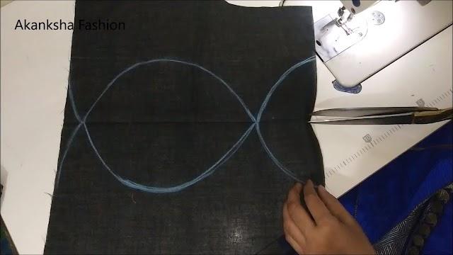 बोट नेक ब्लाऊज बैक क्रास डिजाइन/blouse design