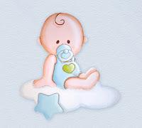 silueta de madera infantil bebé con peto en nube babydelicatessen