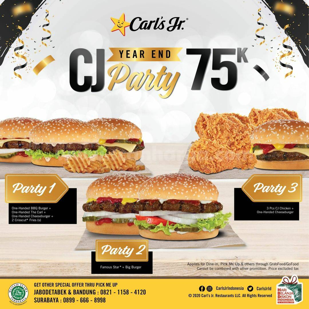 CARLS JR Promo Paket CJ YEAR END PARTY hanya Rp 75.000