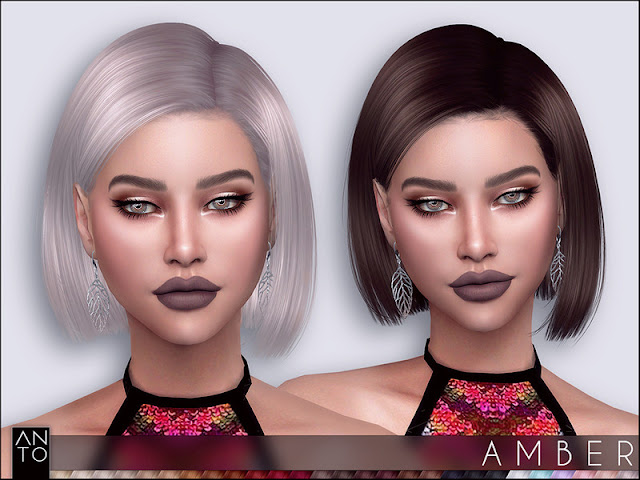 Anto - Amber (Hairstyle) Анто - Янтарь (Прическа) для The Sims 4 27 цветов работает с картой теней шляпы, Автор: Anto https://www.thesimsresource.com/artists/Anto/downloads/details/category/sims4-hair-hairstyles-female/title/anto--amber-%28hairstyle%29/id/1443384/