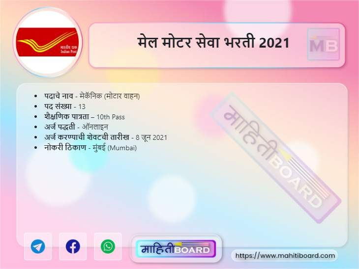 Mail Motor Service Mumbai Bharti 2021
