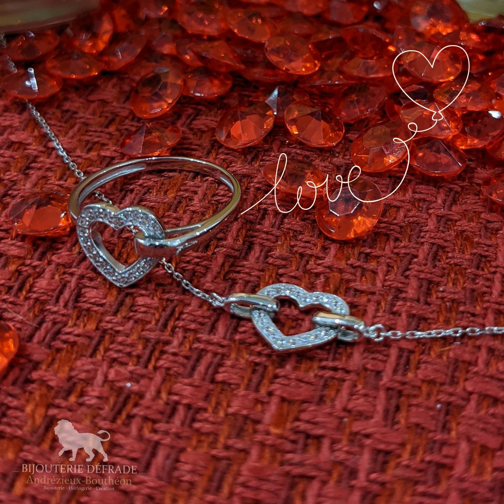 bracelet et bague coeur bijouterie defrade