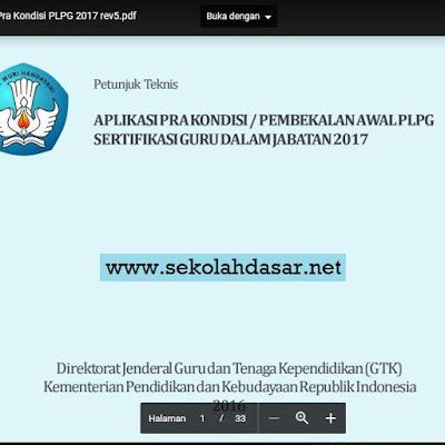 Inilah Juknis Aplikasi Pra Kondisi PLPG Sergur 2017