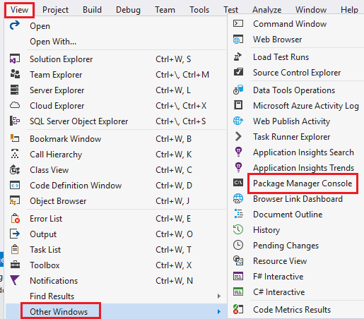 package manager console in visual studio