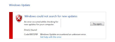 Fix Windows 7 Update Error