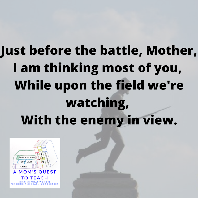 Lyrics to Just Before the Battle, Mother printed on a background of a Civil War Monument